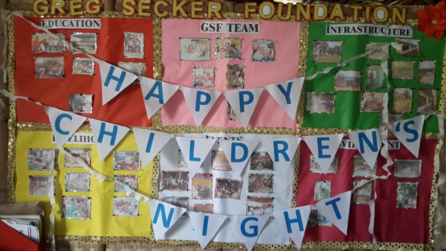 The children celebrate Children's Month with a party in the GSF Village.